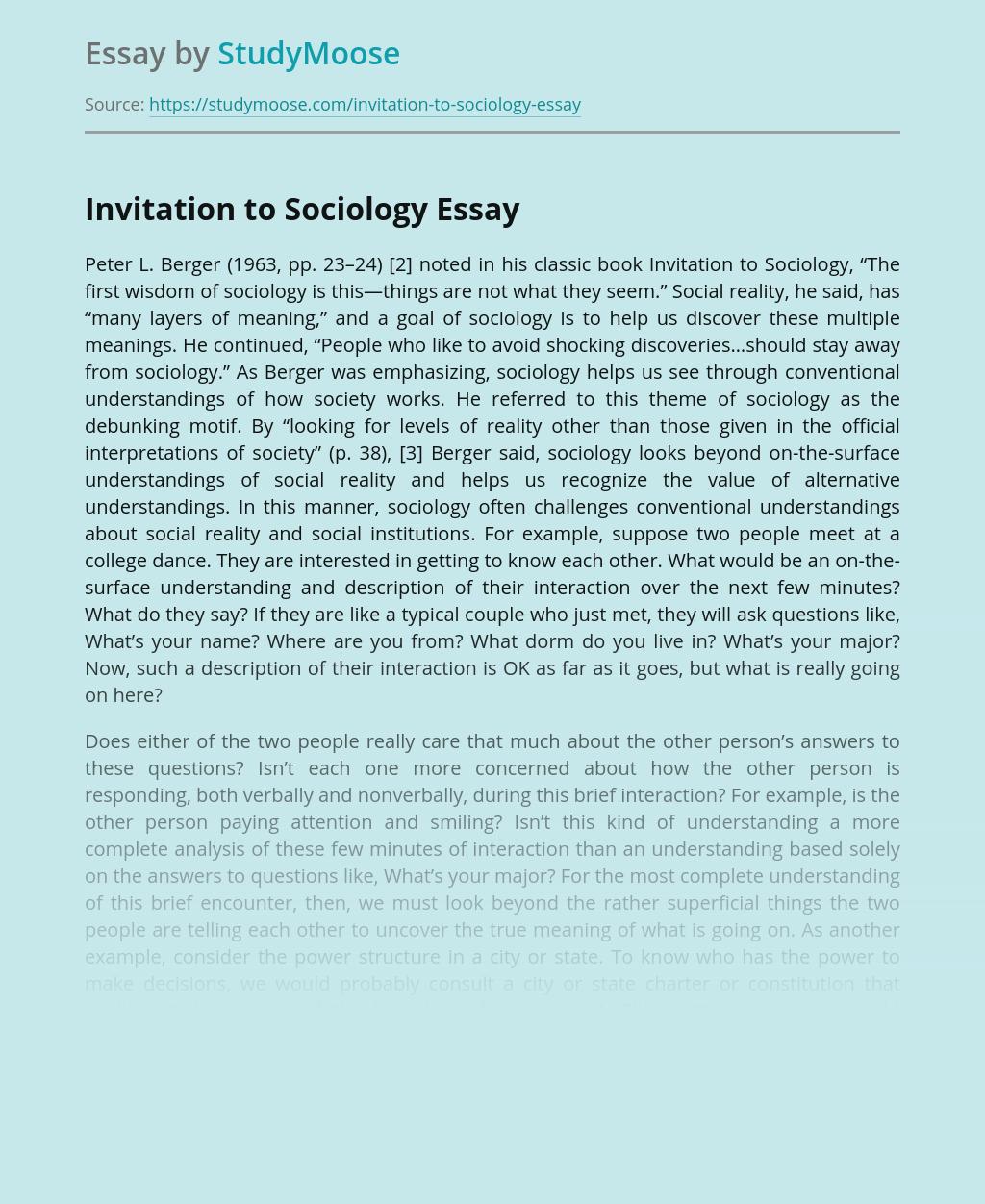 Invitation to Sociology
