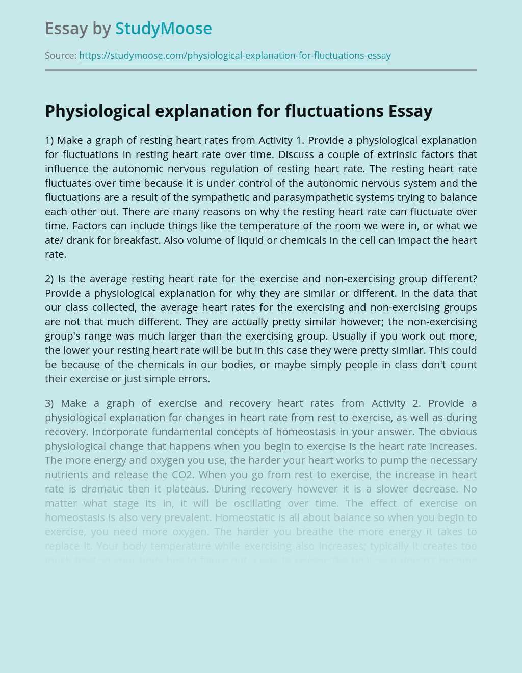 Physiological explanation for fluctuations