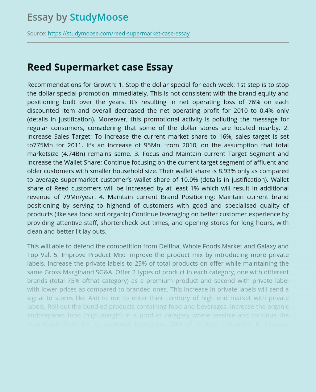 Reed Supermarket Business Recommendations