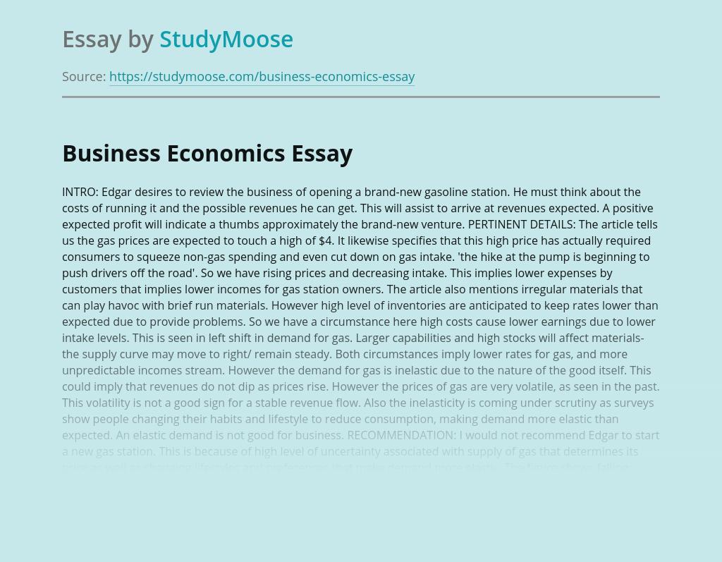 Review of Business Economics Case