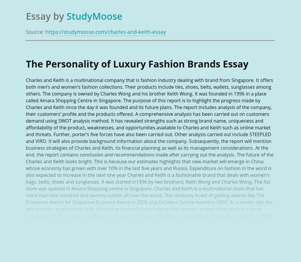 The Personality of Luxury Fashion Brands