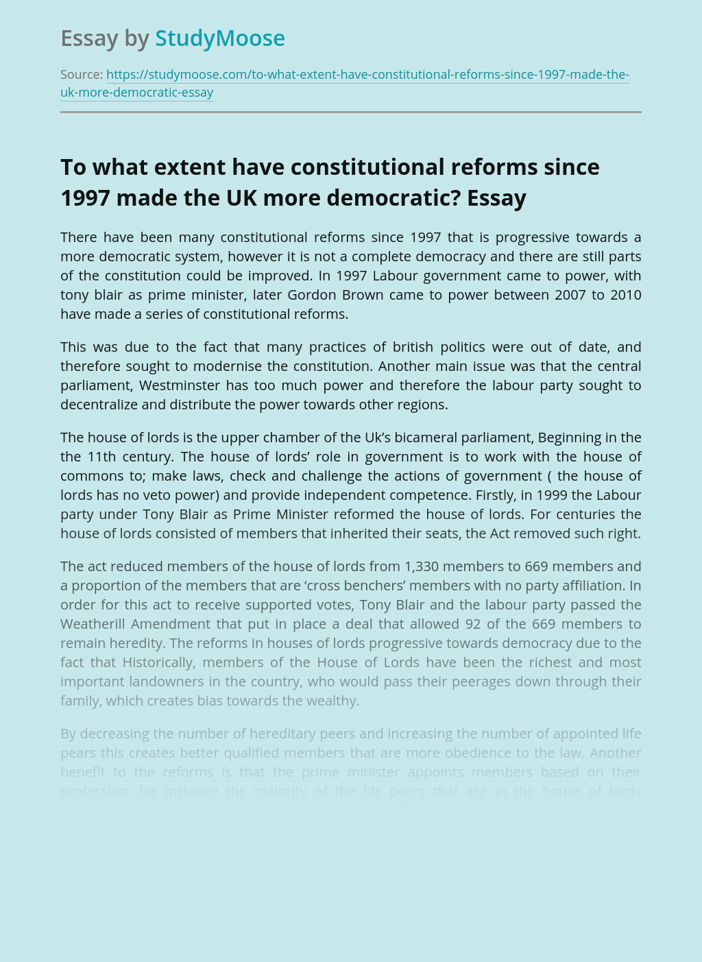 To what extent have constitutional reforms since 1997 made the UK more democratic?