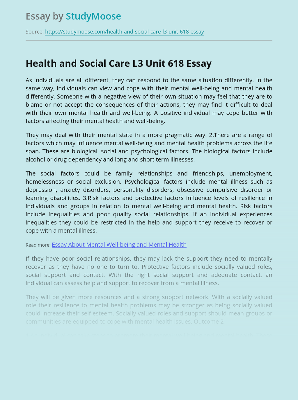 Health and Social Care L3 Unit 618