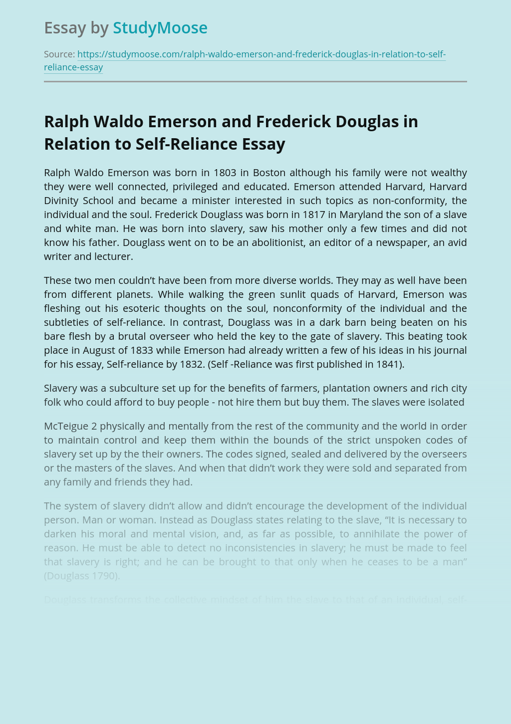 Ralph Waldo Emerson and Frederick Douglas in Relation to Self-Reliance
