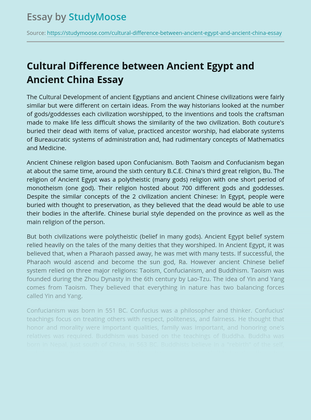 Cultural Difference between Ancient Egypt and Ancient China