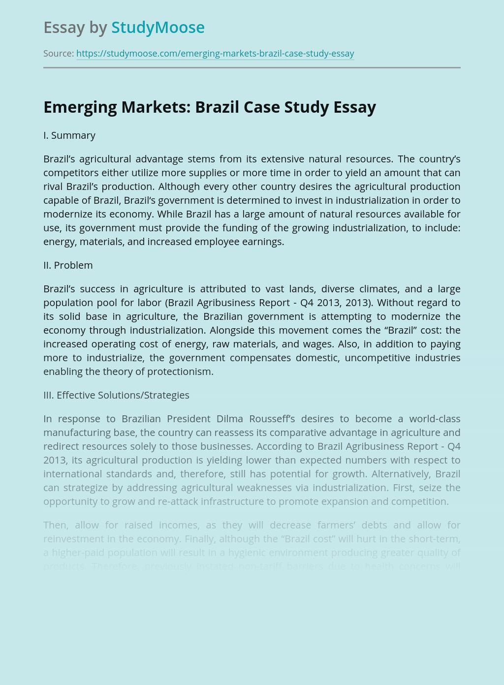 Emerging Markets: Brazil Case Study