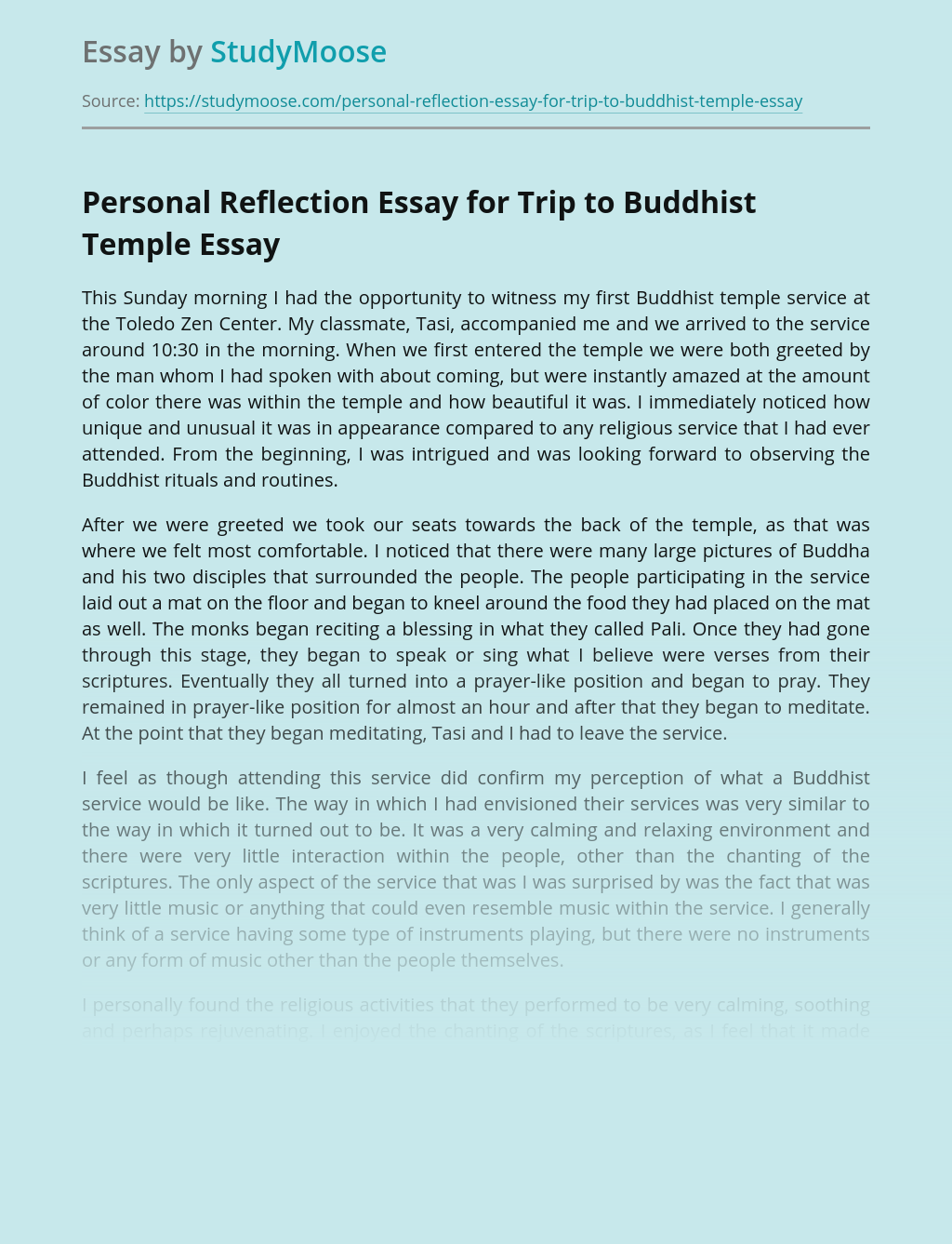 Personal Reflection Essay for Trip to Buddhist Temple