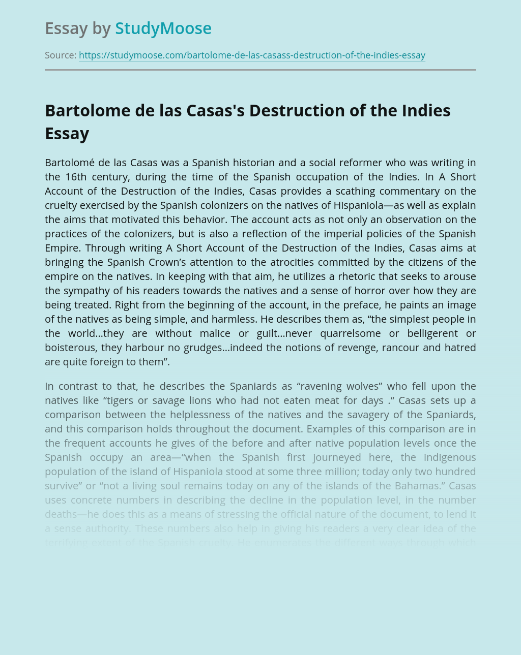 Analysis of Colonization in Destruction of the Indies