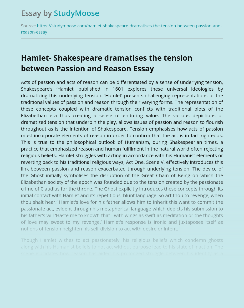 Hamlet- Shakespeare dramatises the tension between Passion and Reason