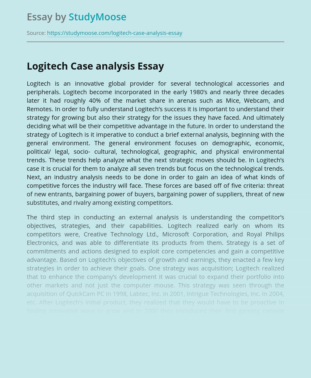 Logitech Case analysis