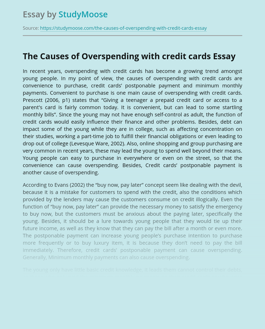 The Causes of Overspending with credit cards