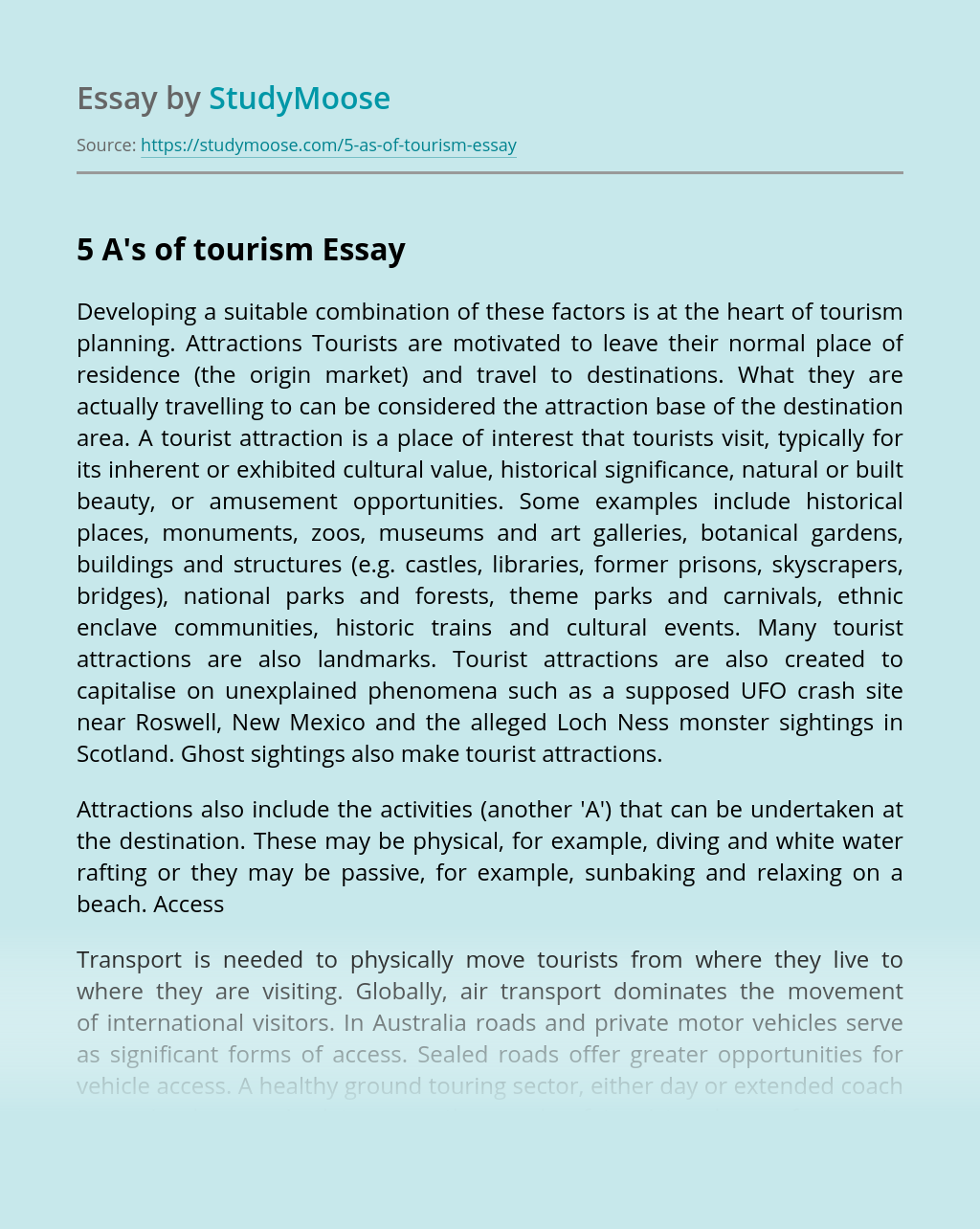 5 A's of tourism