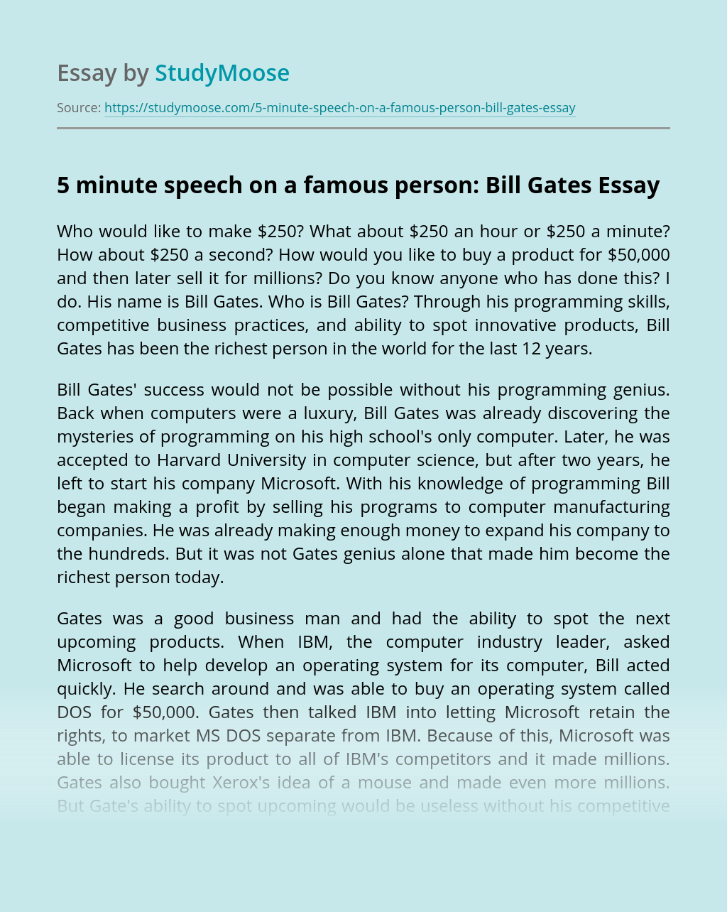 5 minute speech on a famous person: Bill Gates