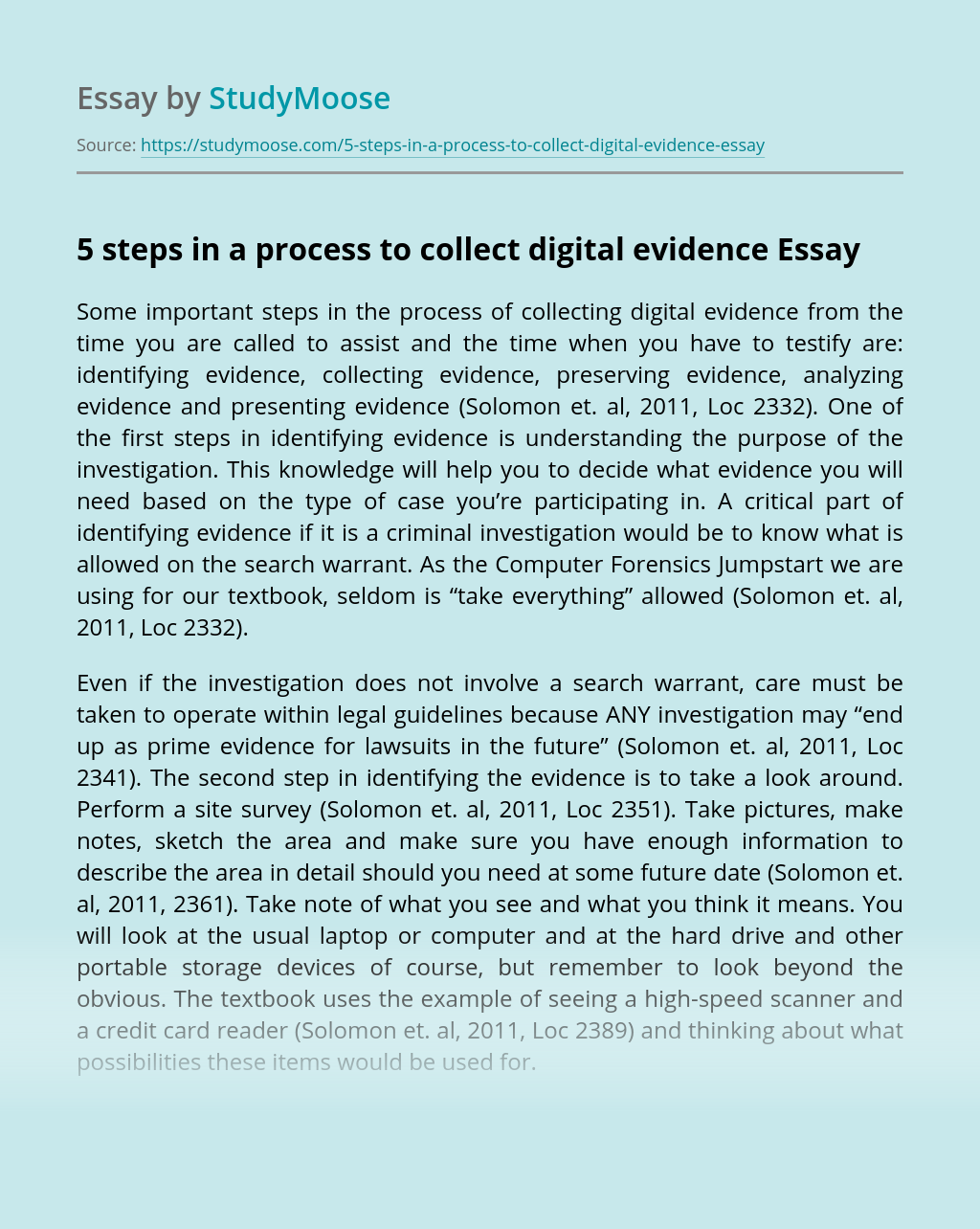 5 steps in a process to collect digital evidence