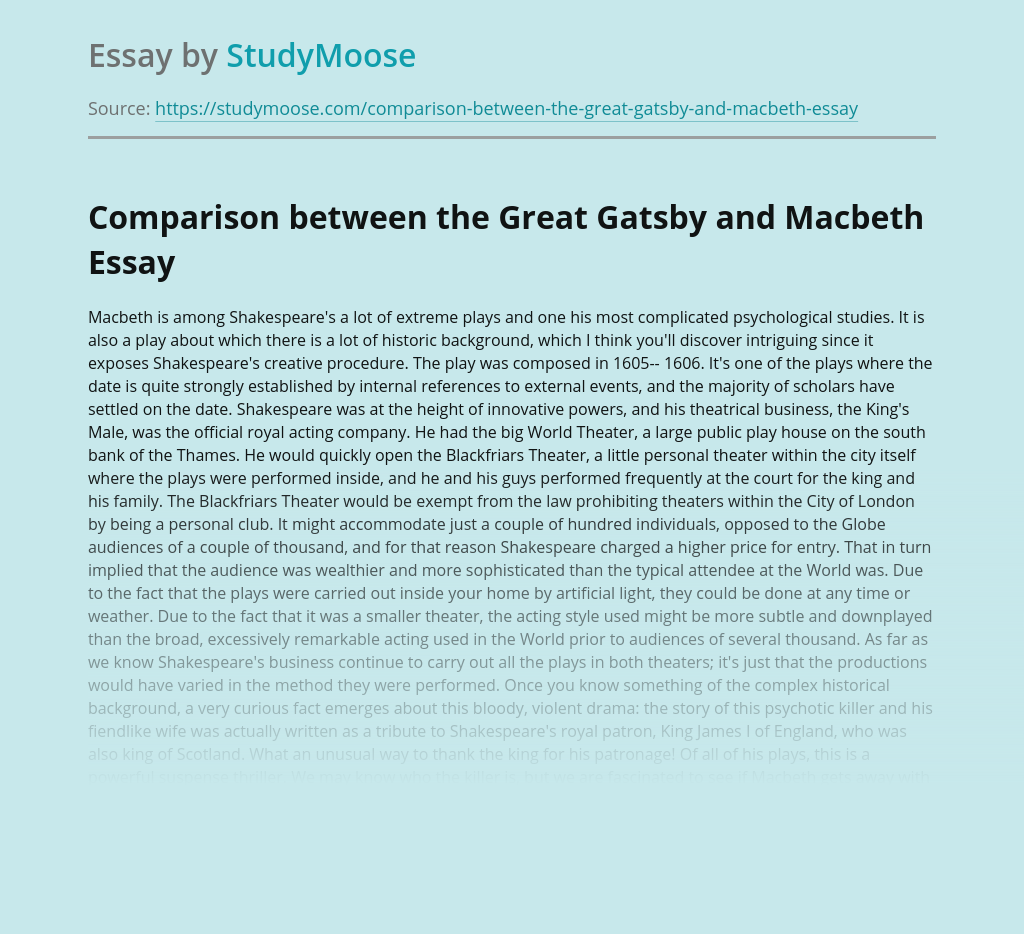 Comparison between the Great Gatsby and Macbeth
