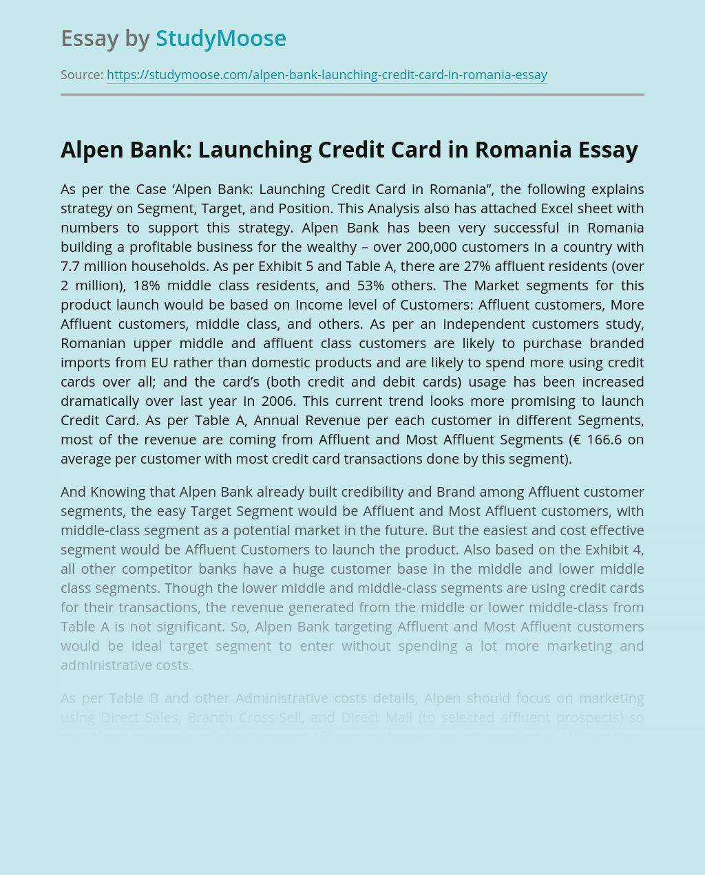 Alpen Bank: Launching Credit Card in Romania