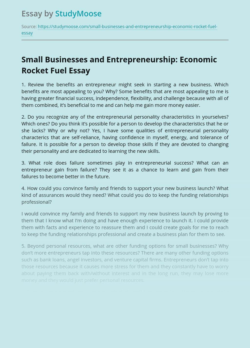 Small Businesses and Entrepreneurship: Economic Rocket Fuel