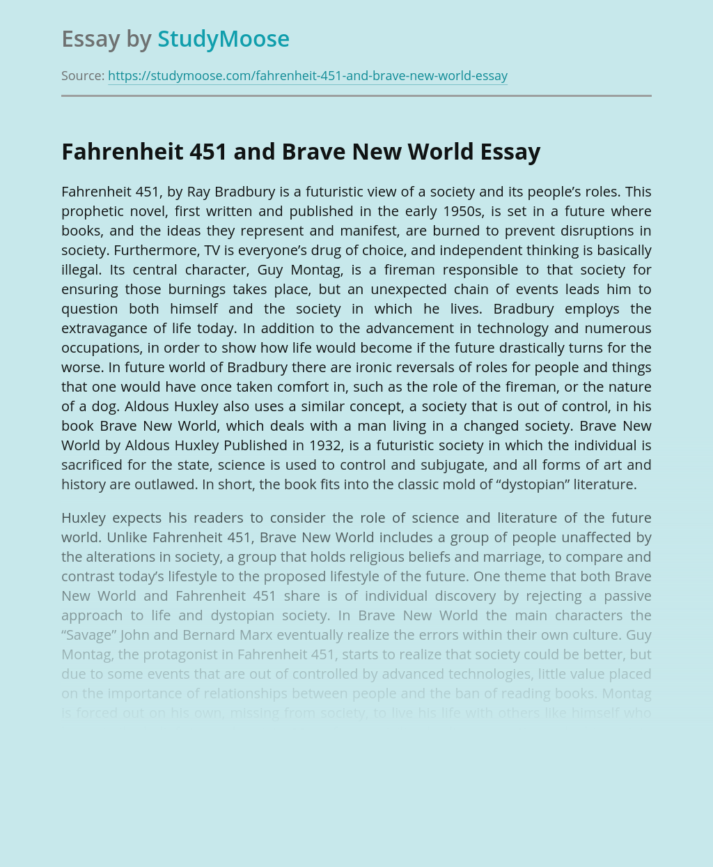 Fahrenheit 451 and Brave New World
