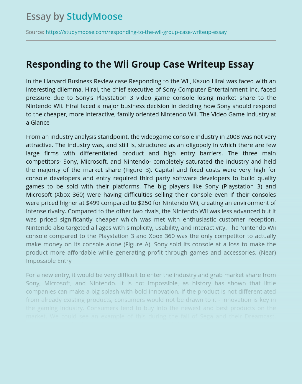 Responding to the Wii Group Case Writeup