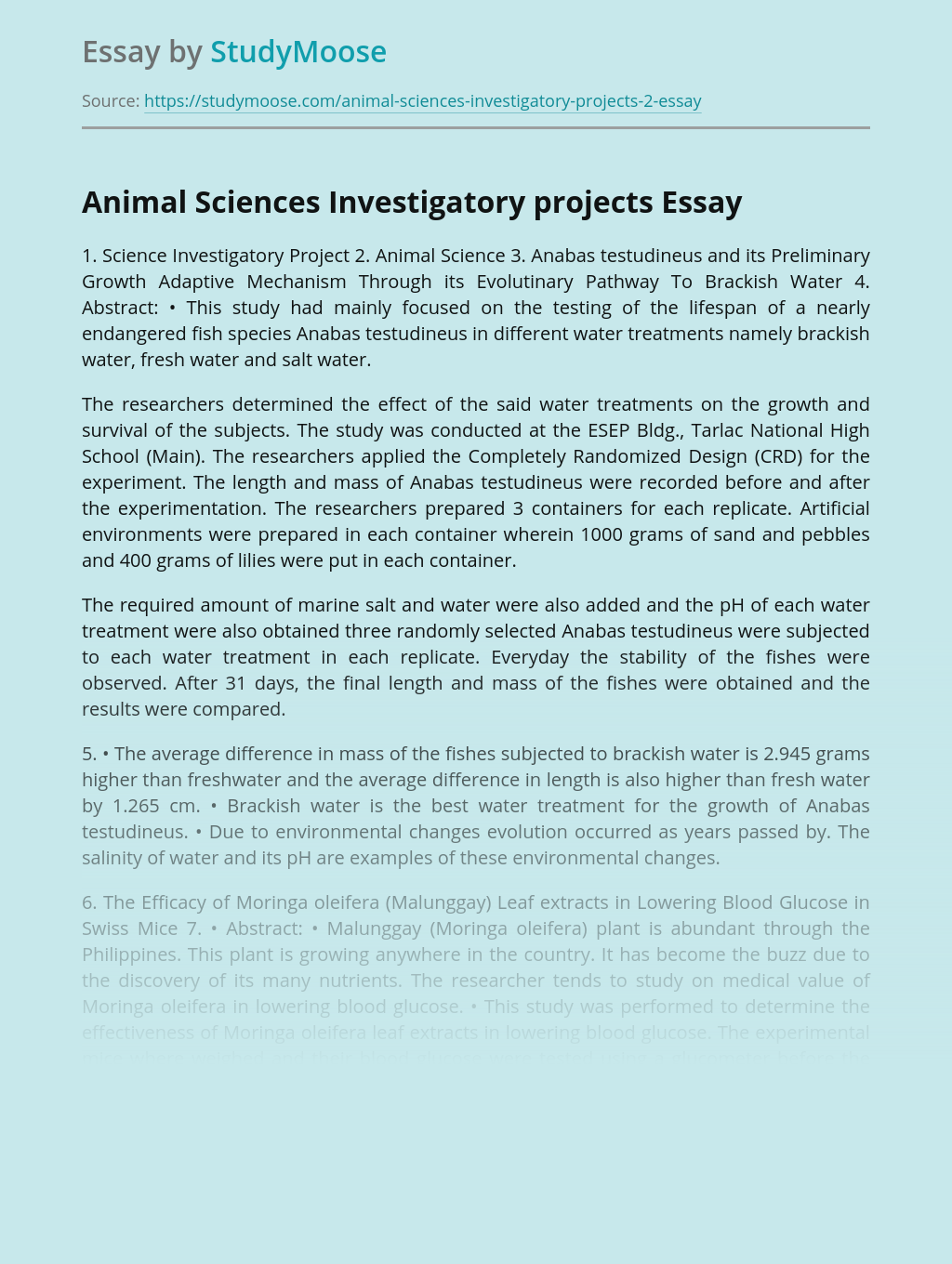 Animal Sciences Investigatory projects