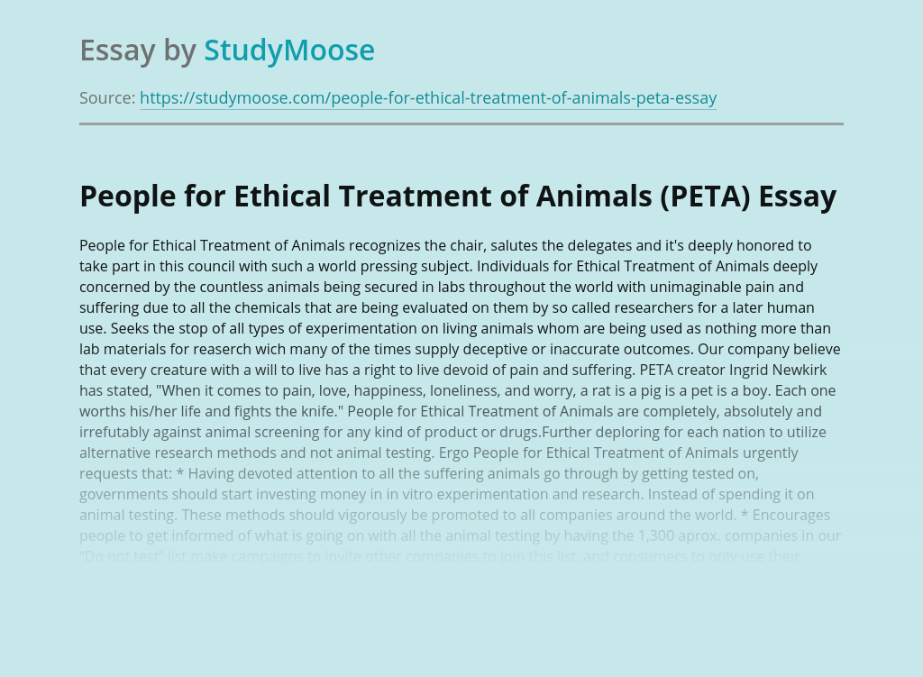 People for Ethical Treatment of Animals (PETA)
