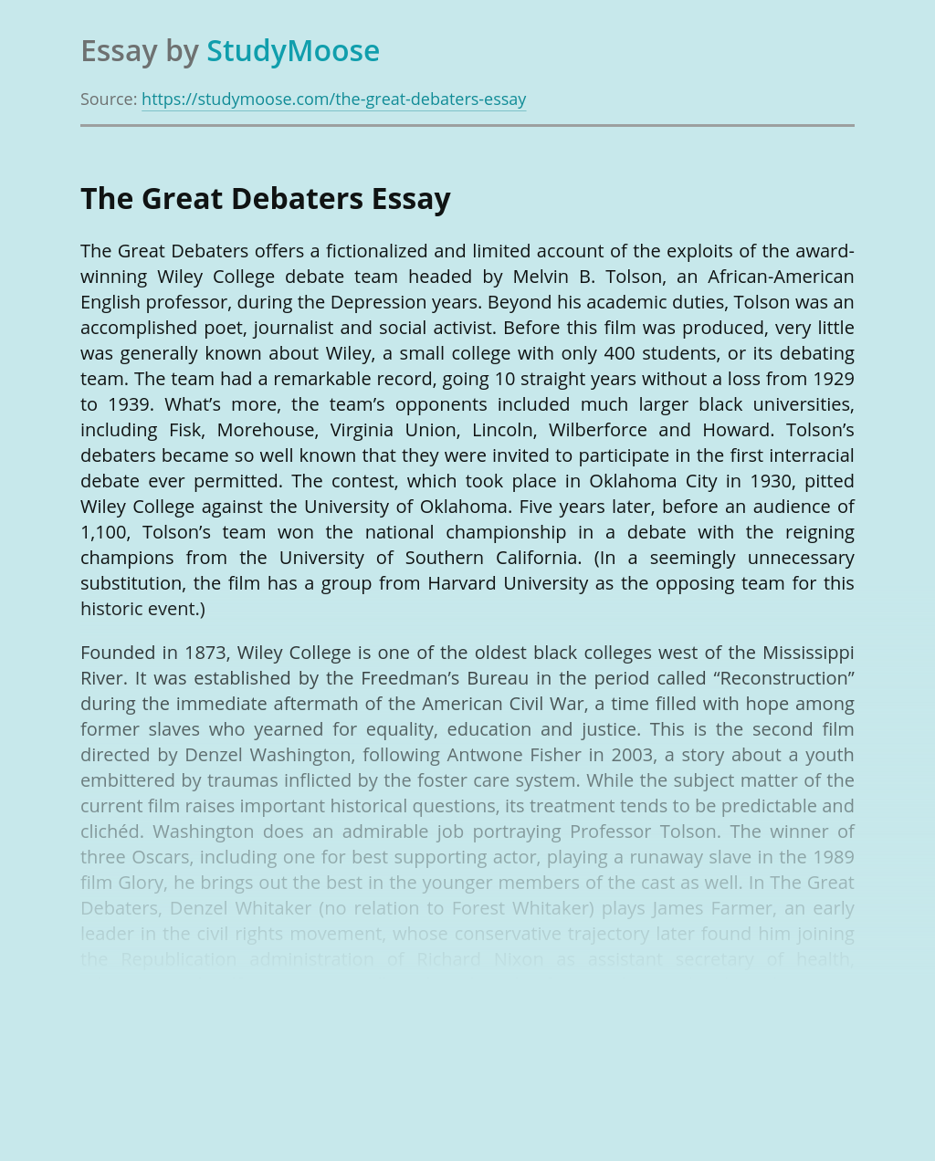 The Great Debaters: Historical Film Review