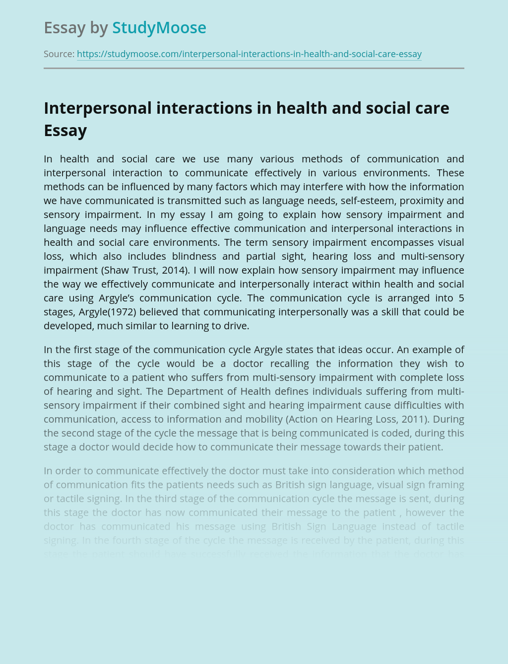 Interpersonal interactions in health and social care