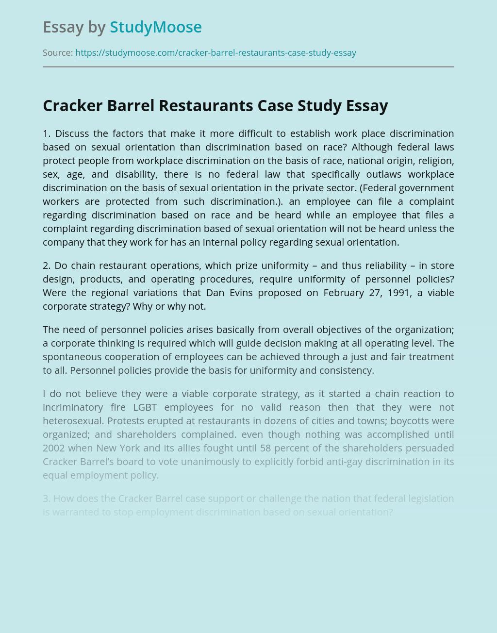 Cracker Barrel Restaurants Case Study