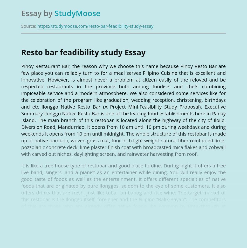 Resto bar feadibility study