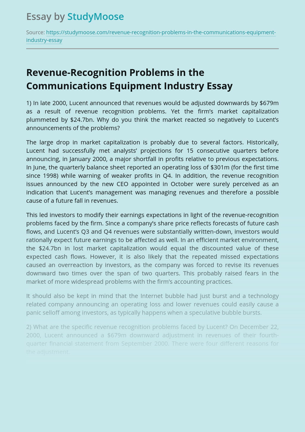 Revenue-Recognition Problems in the Communications Equipment Industry