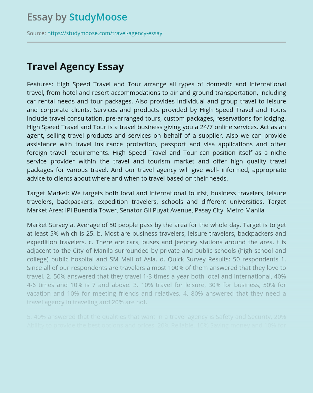High Speed Travel and Tour Travel Agency Analysis