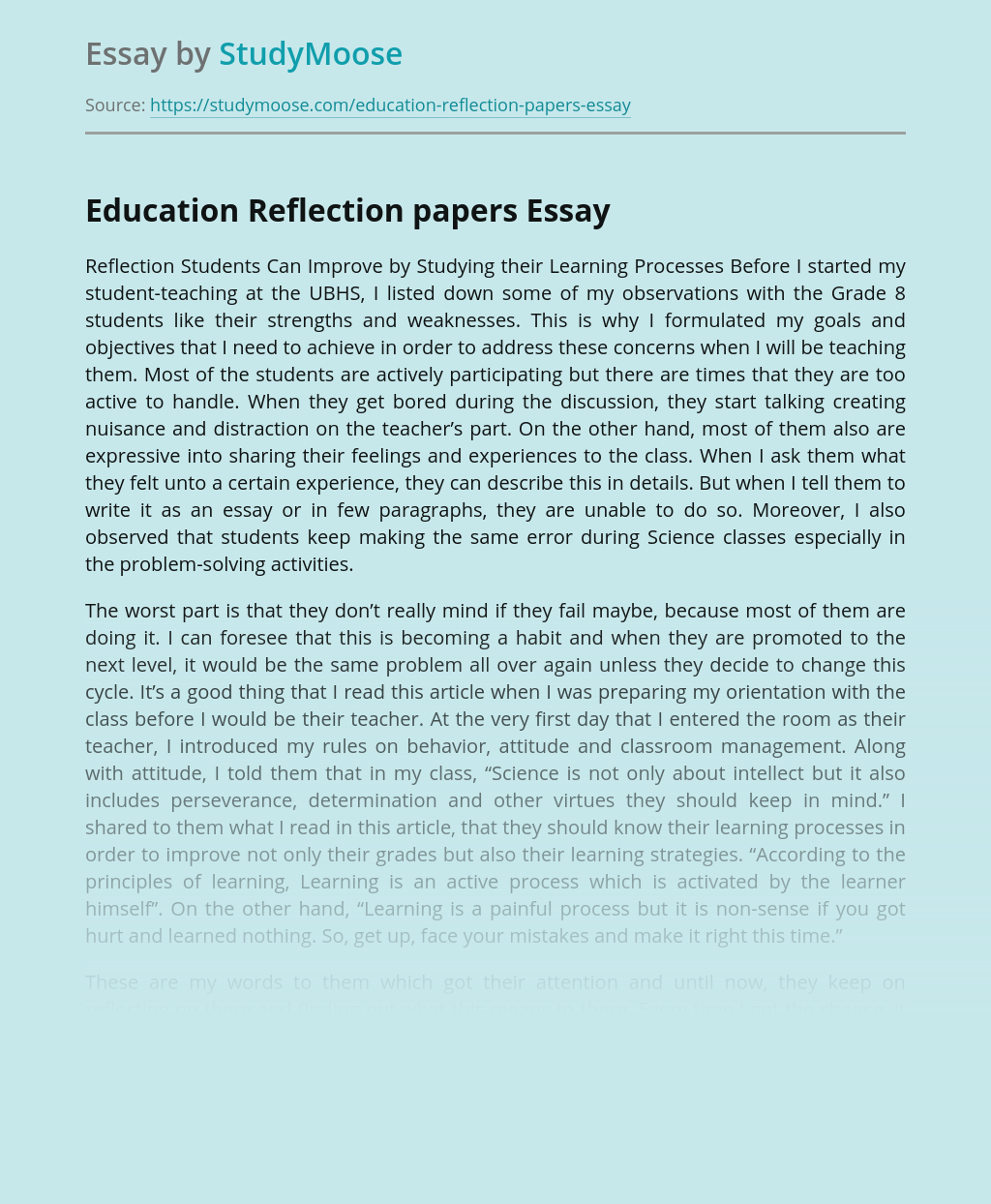 Education Reflection papers