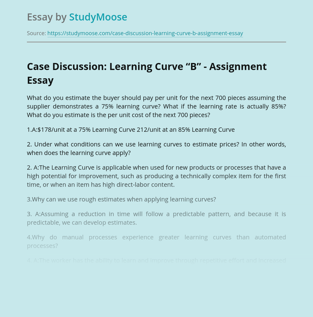 "Case Discussion: Learning Curve ""B"" - Assignment"