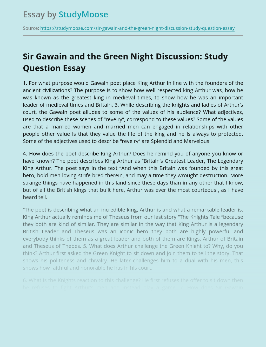 Sir Gawain and the Green Night Discussion: Study Question