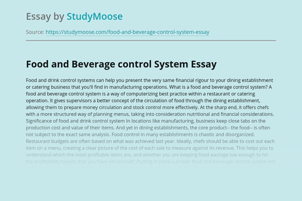 Food and Beverage control System