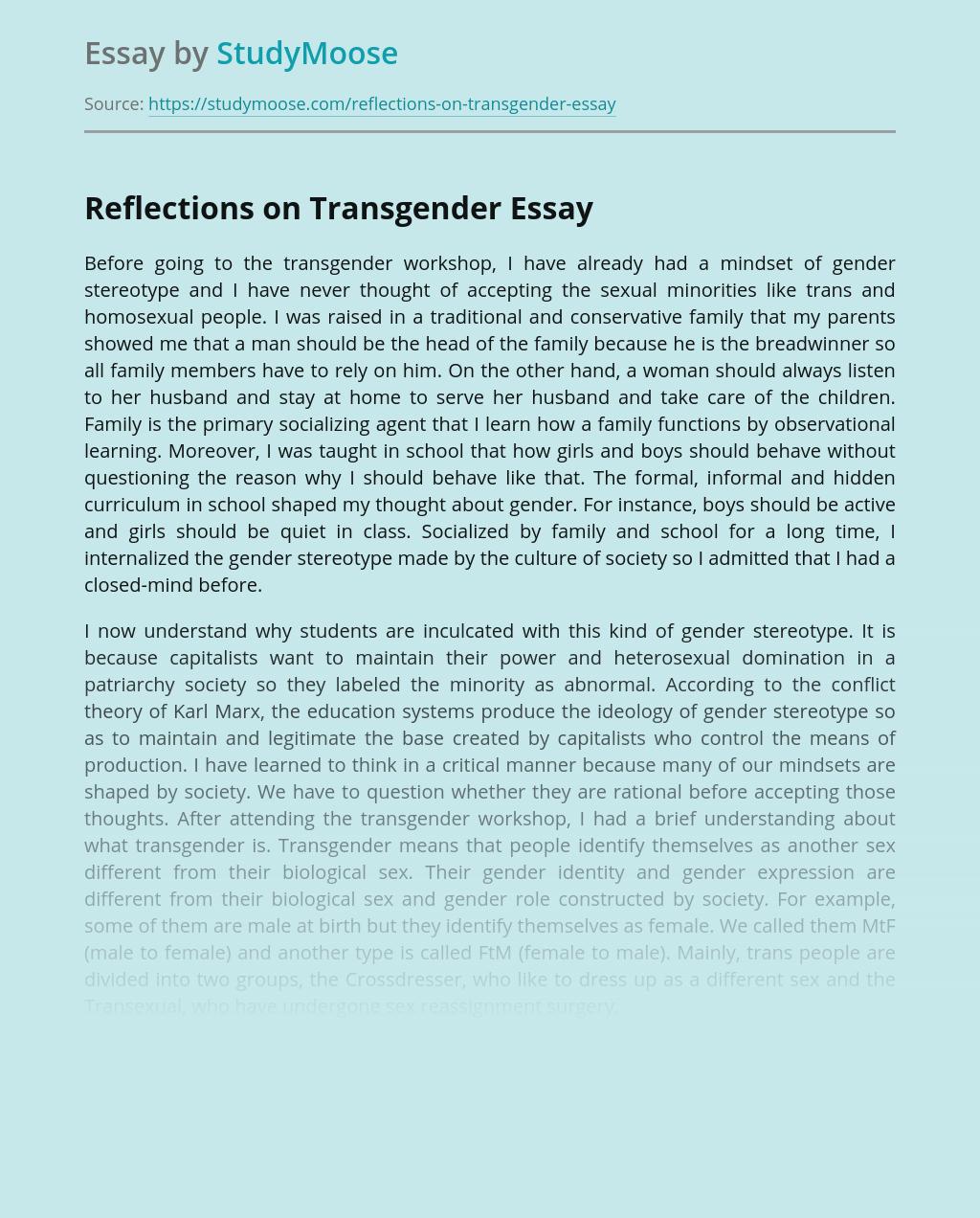 Reflections on Transgender