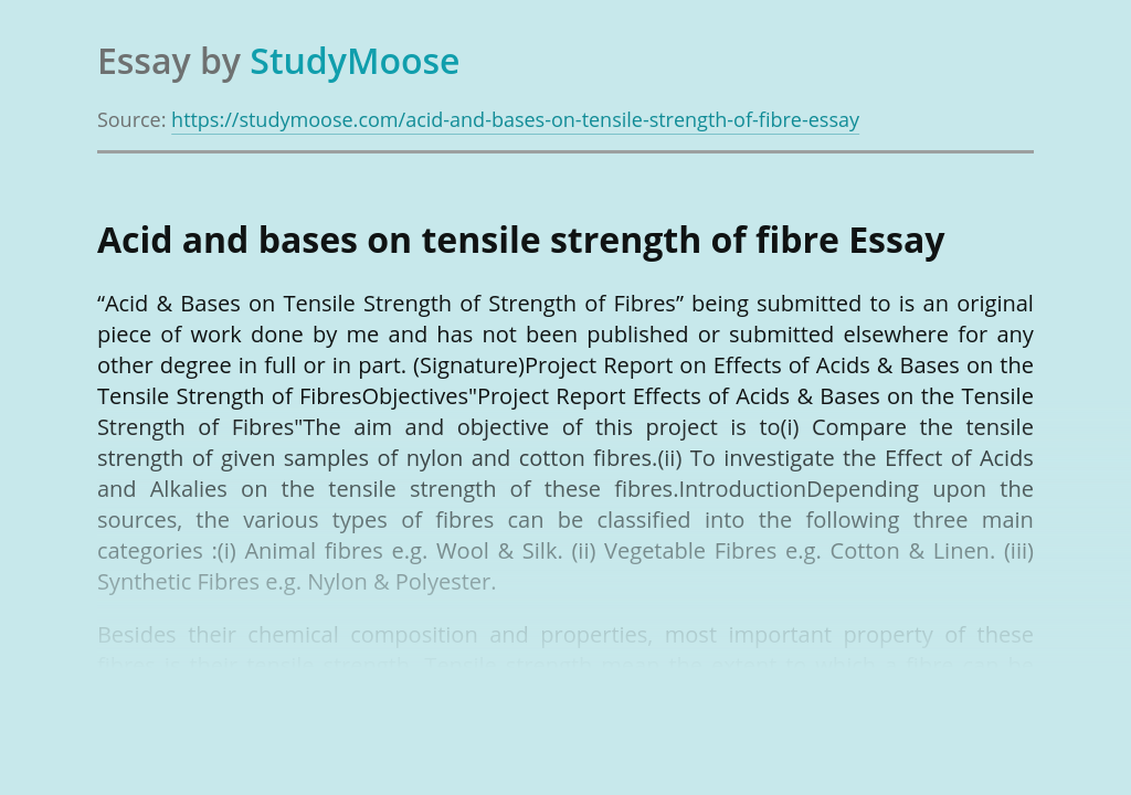 Acid and bases on tensile strength of fibre