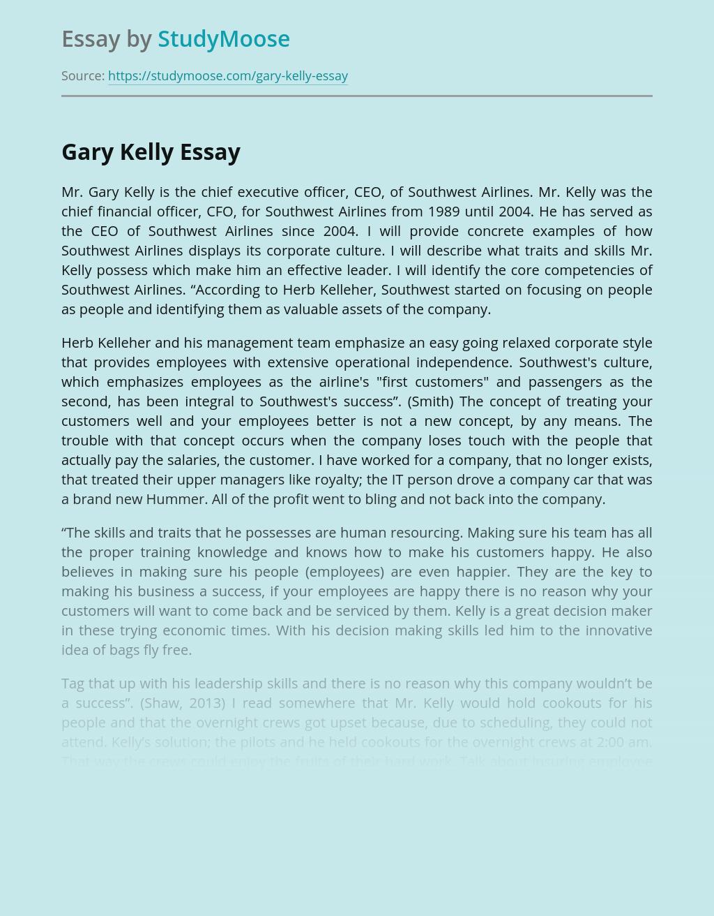 Gary Kelly, an Effective Leader