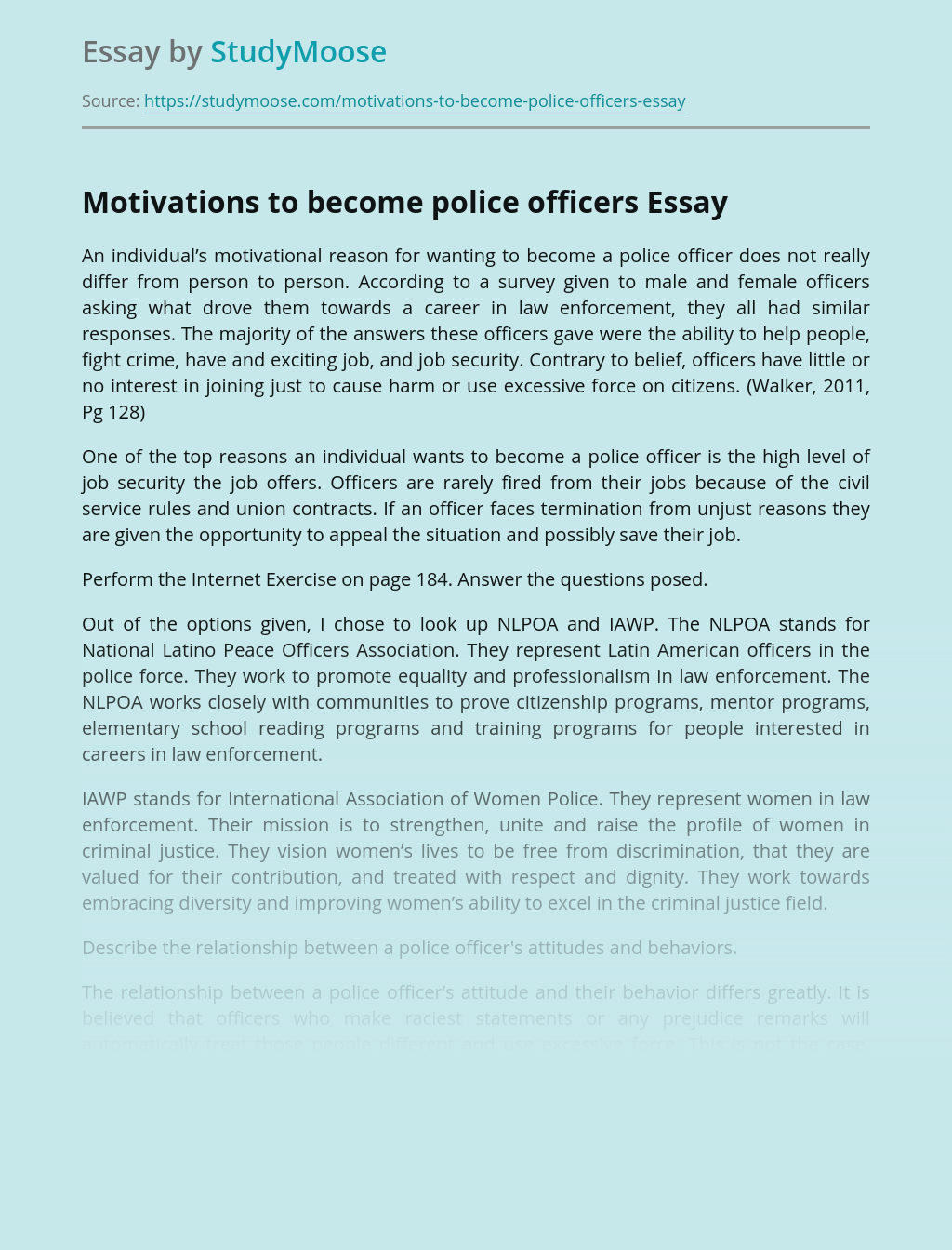 Motivations to become police officers