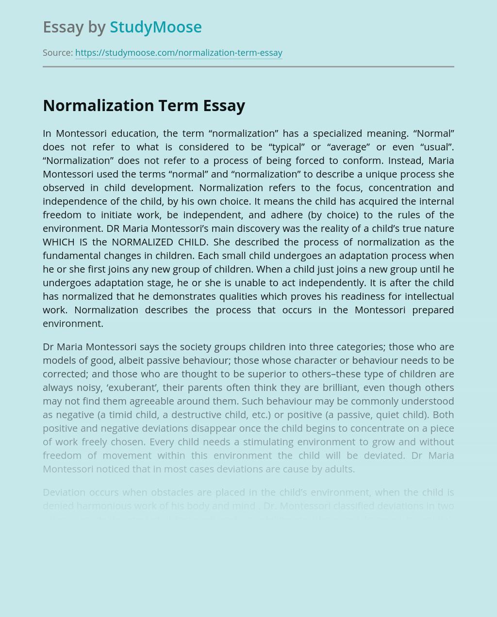 Normalization Term