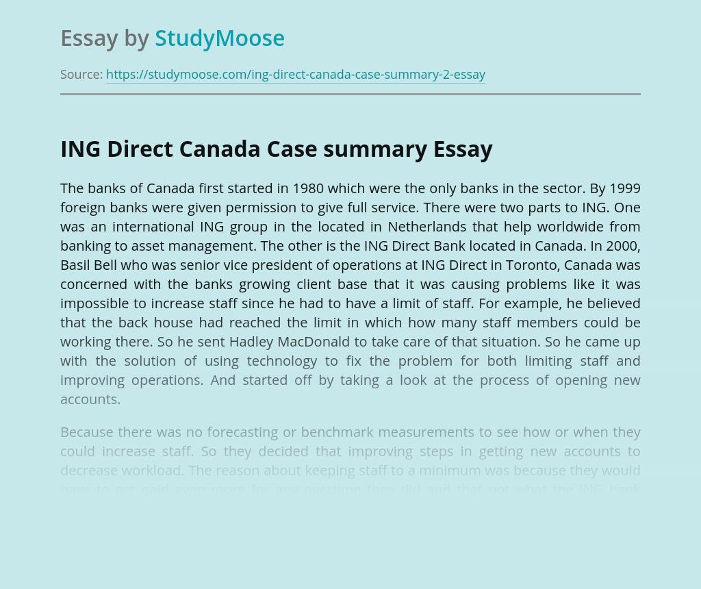 ING Direct Canada Case summary