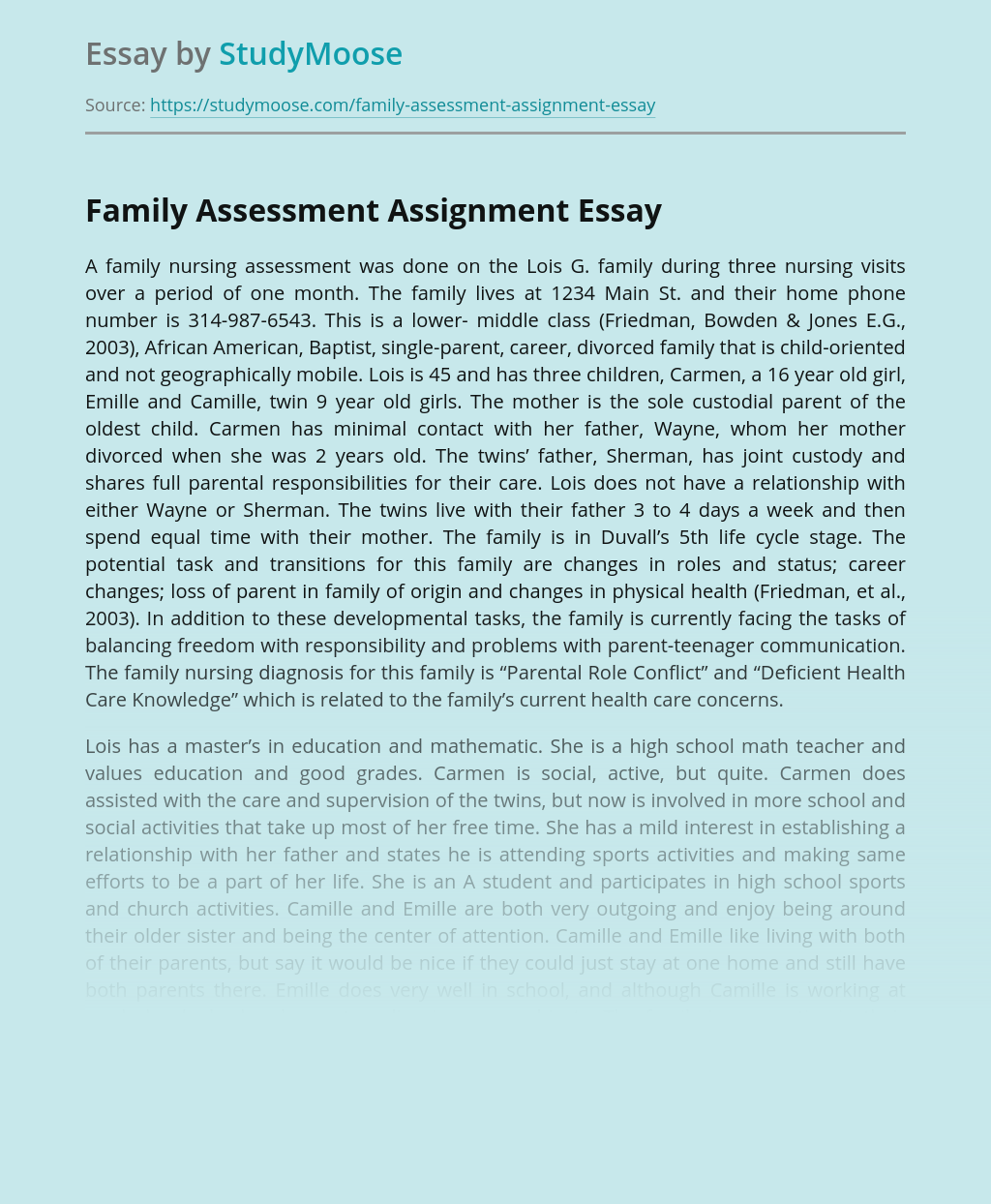 Family Assessment Assignment