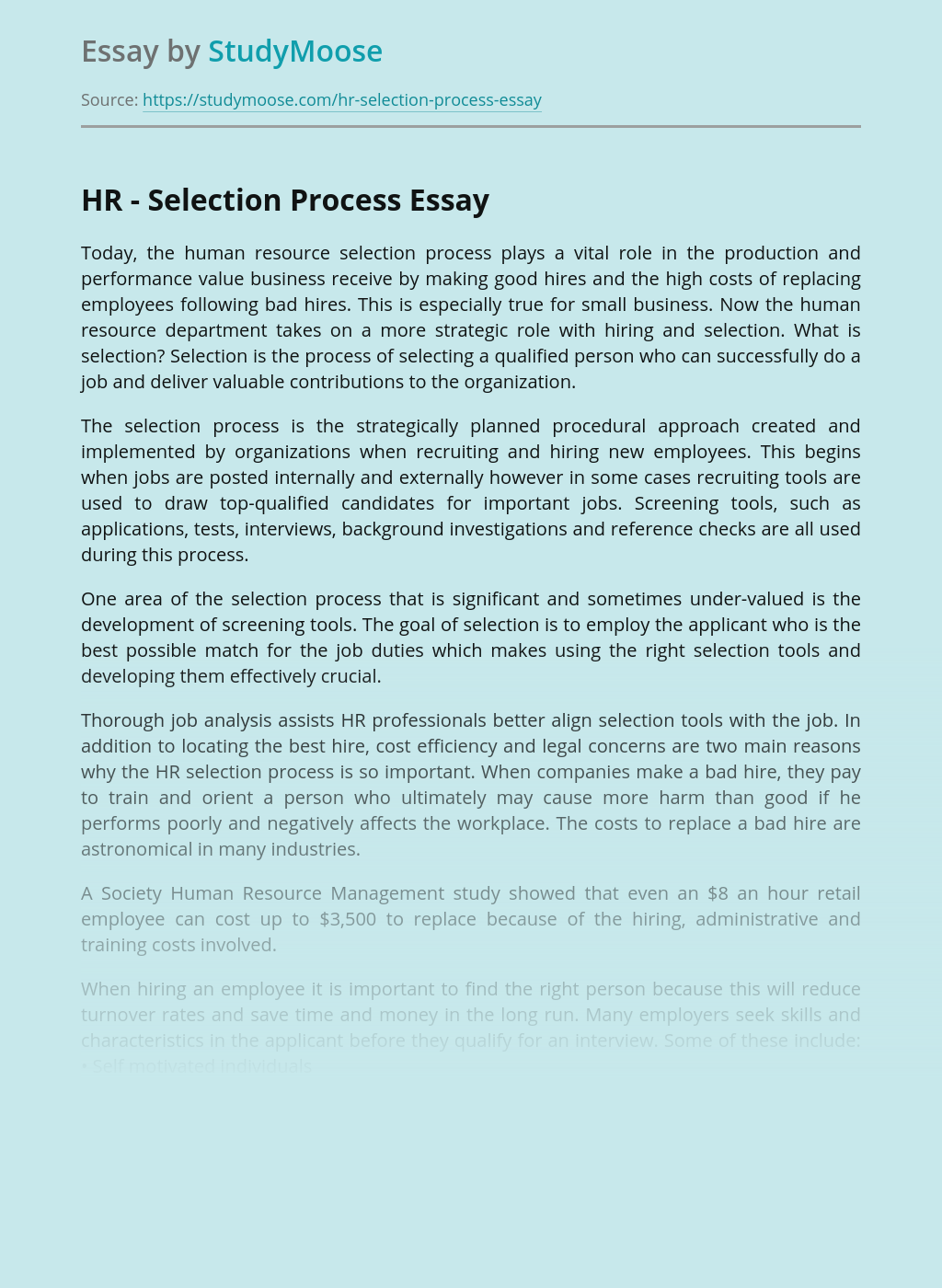 Selection Process in Human Resources Management