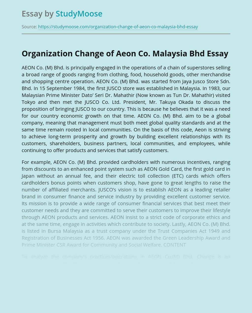Organization Change of Aeon Co. Malaysia Bhd