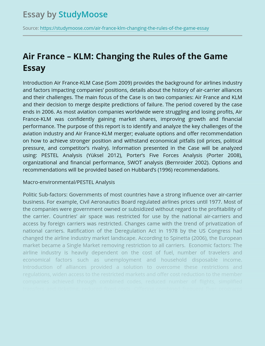Air France – KLM: Changing the Rules of the Game