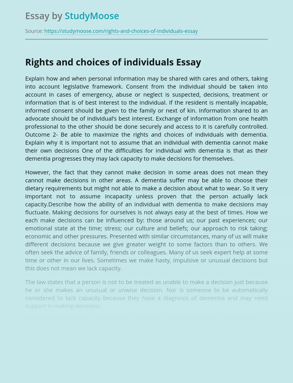 Rights and choices of individuals