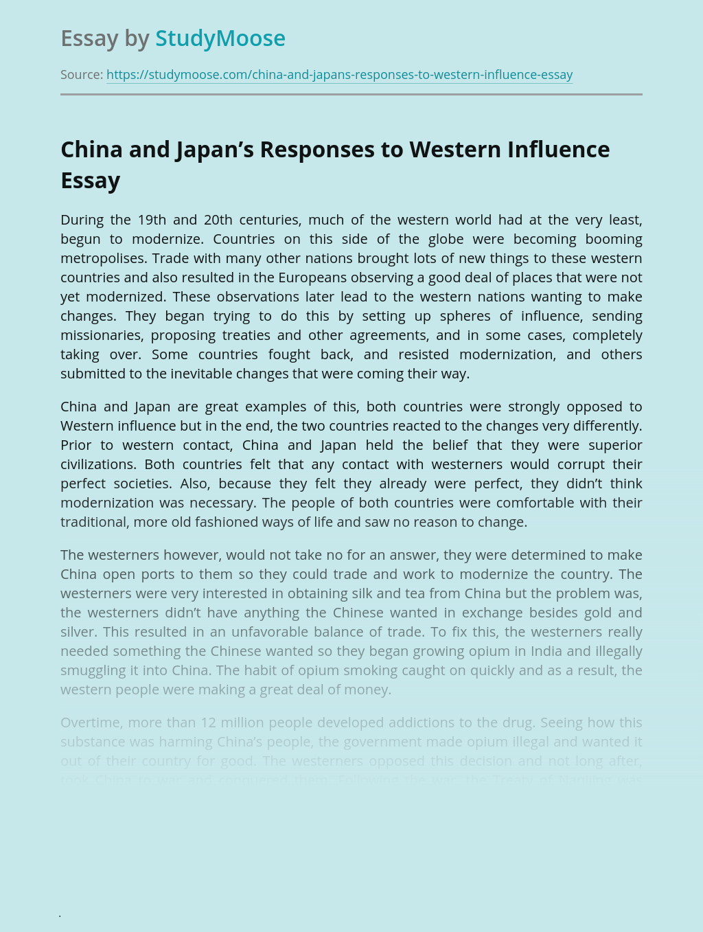 China and Japan's Responses to Western Influence