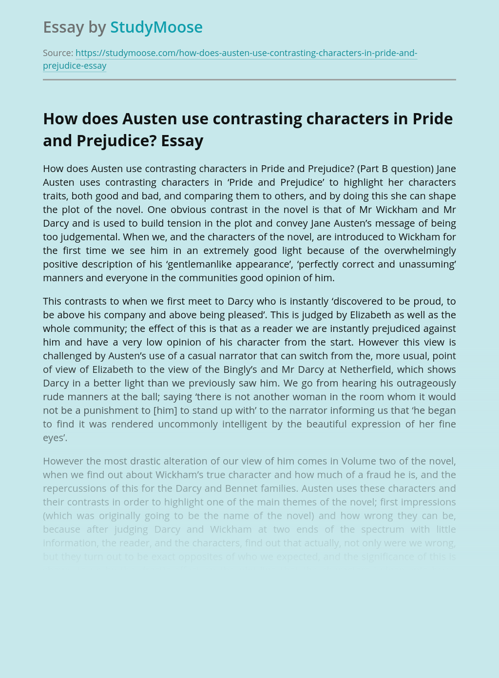 How does Austen use contrasting characters in Pride and Prejudice?