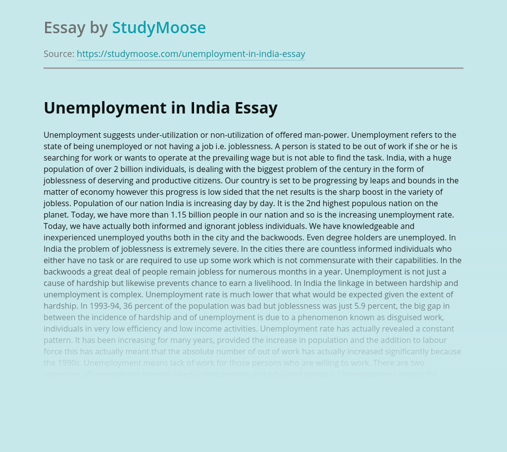 Unemployment In India Essay For Children And Students