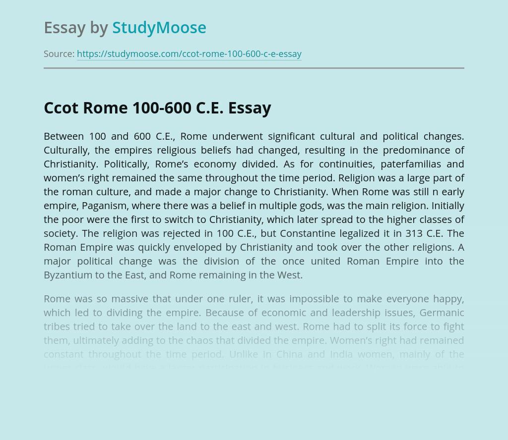 Ccot Rome 100-600 C.E.